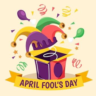 Ręcznie rysowane ilustracja na prima aprilis z zabawny kapelusz
