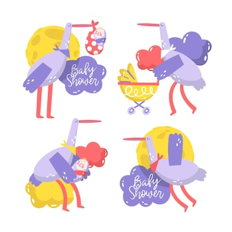 Ręcznie rysowane ilustracja naklejki baby shower