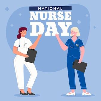 Ręcznie rysowane ilustracja narodowy dzień pielęgniarek