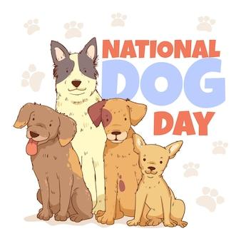 Ręcznie Rysowane Ilustracja Narodowy Dzień Psa Darmowych Wektorów