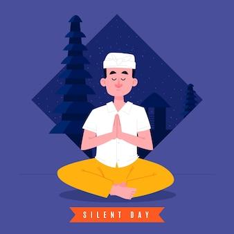 Ręcznie rysowane ilustracja nyepi z medytacją mężczyzny