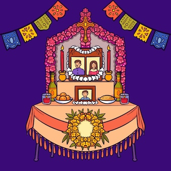 Ręcznie rysowane ilustracja ołtarza rodzinnego dia de muertos