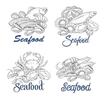 Ręcznie rysowane ilustracja owoce morza