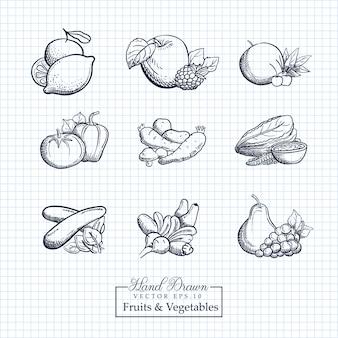 Ręcznie rysowane ilustracja owoców i warzyw