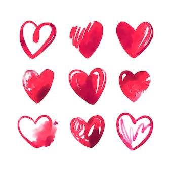 Ręcznie rysowane ilustracja pakiet serca