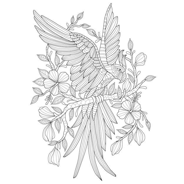 Ręcznie rysowane ilustracja papuga w zentangle stylu