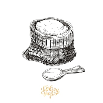 Ręcznie rysowane ilustracja piekarnia.