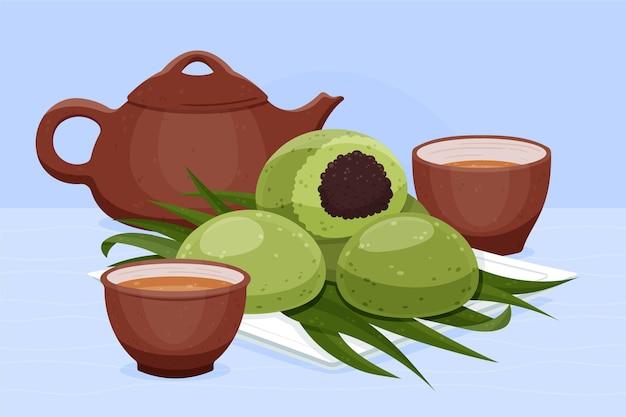 Ręcznie rysowane ilustracja pierogi ching ming