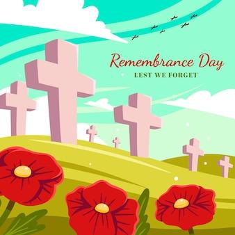 Ręcznie rysowane ilustracja płaski dzień pamięci