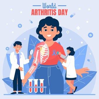 Ręcznie rysowane ilustracja płaski światowy dzień zapalenia stawów