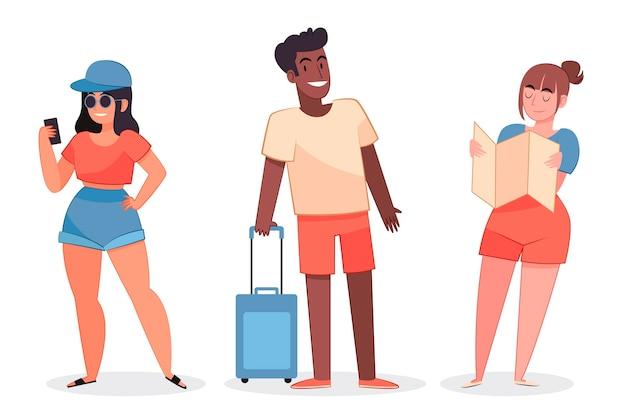 Ręcznie rysowane ilustracja płaskich turystów