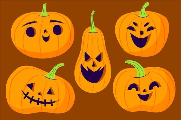 Ręcznie rysowane ilustracja płaskie dynie halloween