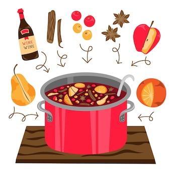 Ręcznie rysowane ilustracja płaskie grzane wino