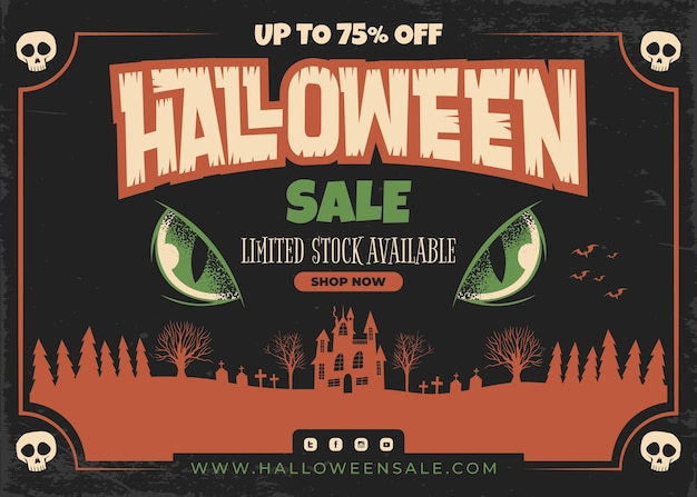 Ręcznie rysowane ilustracja płaskiej sprzedaży halloween