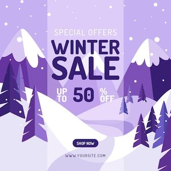 Ręcznie rysowane ilustracja płaskiej sprzedaży zimowej i kwadratowy baner