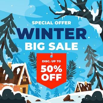 Ręcznie rysowane ilustracja płaskiej sprzedaży zimowej z drzewami i domami w śniegu