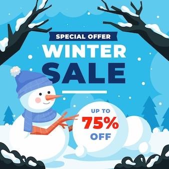 Ręcznie rysowane ilustracja płaskiej sprzedaży zimowej z ośnieżonymi gałęziami i bałwanem