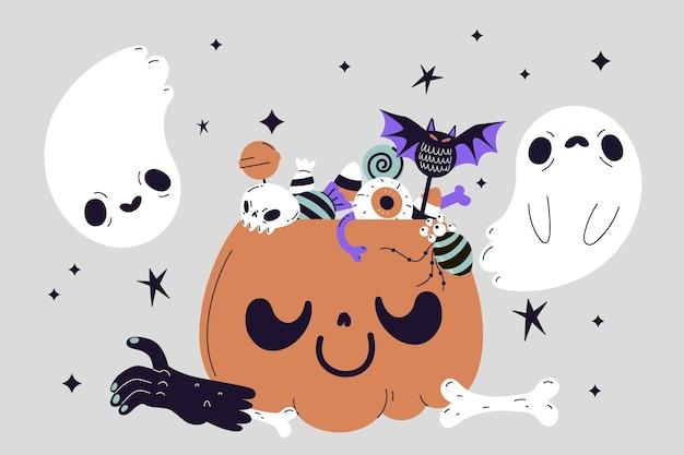 Ręcznie rysowane ilustracja płaskiej torby halloween