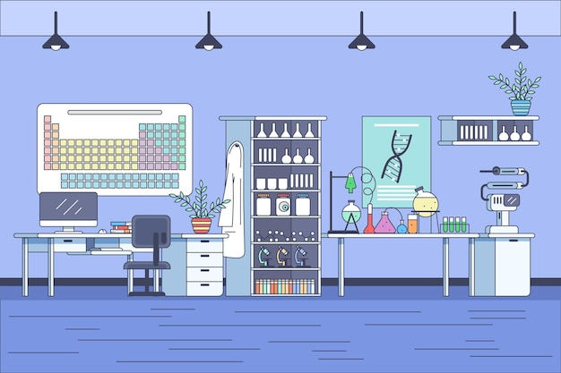Ręcznie rysowane ilustracja pokoju laboratoryjnego
