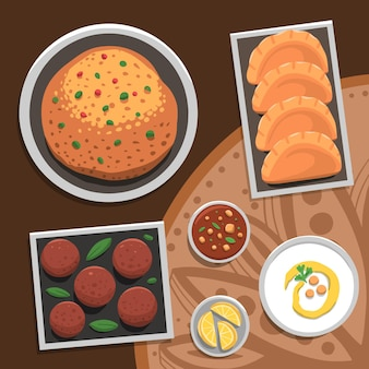 Ręcznie rysowane ilustracja posiłek iftar