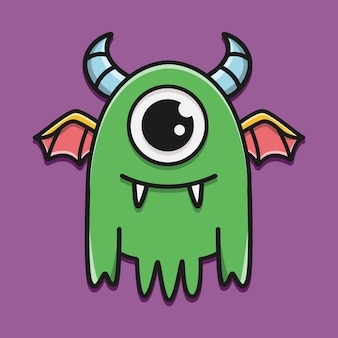 Ręcznie rysowane ilustracja projekt naklejki potwór kreskówka