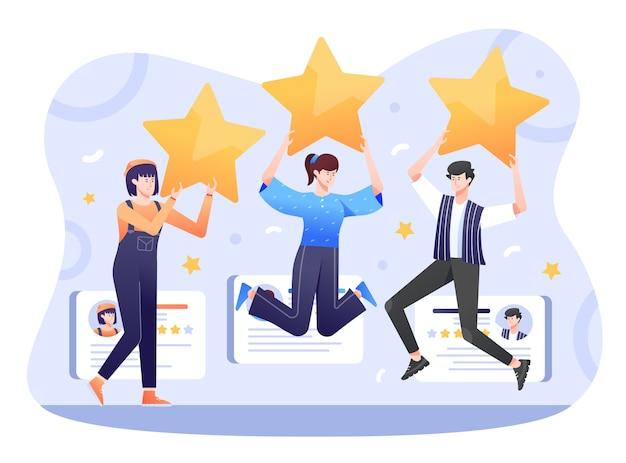 Ręcznie rysowane ilustracja recenzji klienta