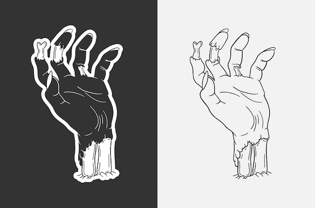 Ręcznie rysowane ilustracja ręka zombie