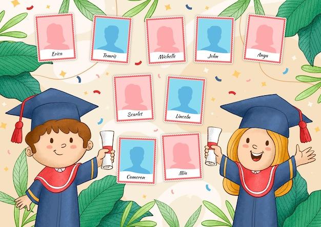 Ręcznie rysowane ilustracja rocznika ukończenia szkoły