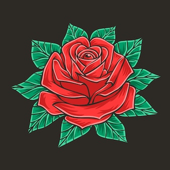 Ręcznie rysowane ilustracja róży