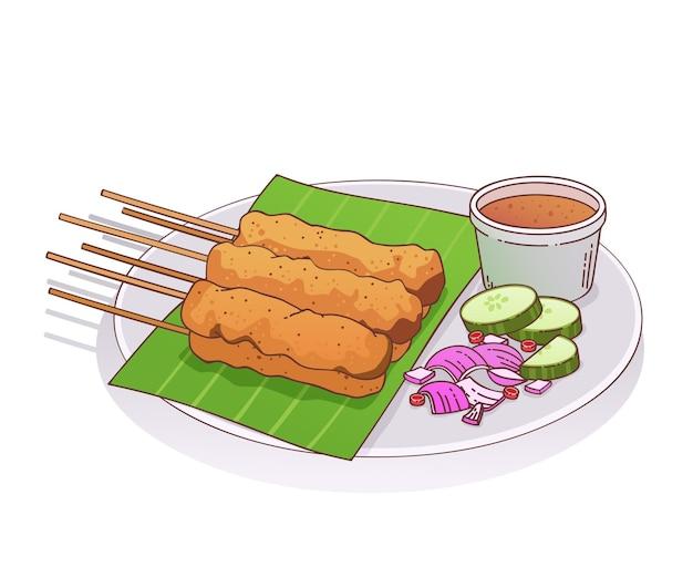 Ręcznie rysowane ilustracja satay