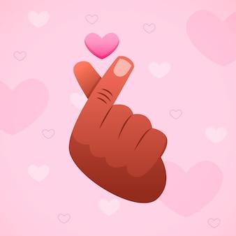 Ręcznie rysowane ilustracja serce palec