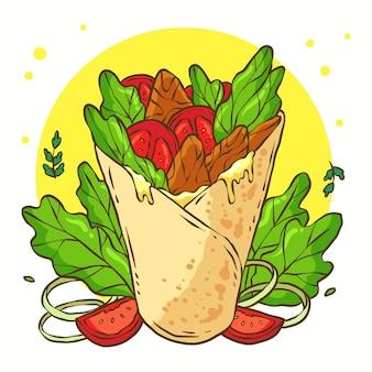 Ręcznie rysowane ilustracja shawarma
