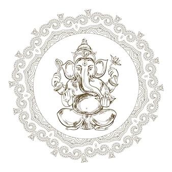 Ręcznie rysowane ilustracja siedzącego pana ganesha w ramie mandali.