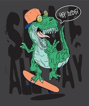 Ręcznie rysowane ilustracja skater t-rex dinozaurów
