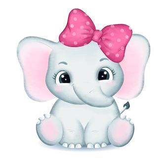 Ręcznie rysowane ilustracja słodkie dziecko słonia