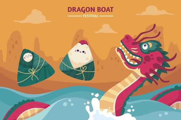 Ręcznie Rysowane Ilustracja Smoczej łodzi Darmowych Wektorów