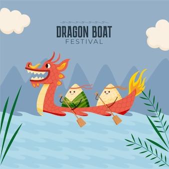 Ręcznie rysowane ilustracja smoczej łodzi