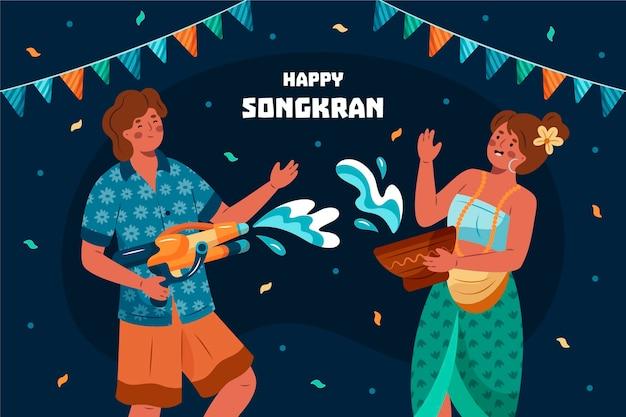 Ręcznie rysowane ilustracja songkran