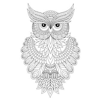 Ręcznie rysowane ilustracja sowa