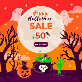 Ręcznie rysowane ilustracja sprzedaż halloween
