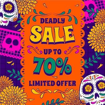 Ręcznie rysowane ilustracja sprzedaży dia de muertos