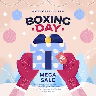 Ręcznie rysowane ilustracja sprzedaży płaskiej boxing day