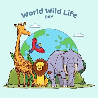 Ręcznie rysowane ilustracja światowego dnia dzikiej przyrody