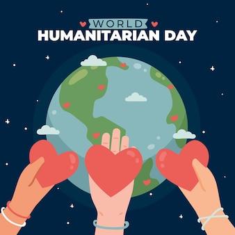 Ręcznie rysowane ilustracja światowego dnia humanitarnego