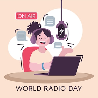 Ręcznie rysowane ilustracja światowego dnia radia