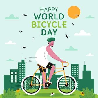 Ręcznie rysowane ilustracja światowego dnia roweru
