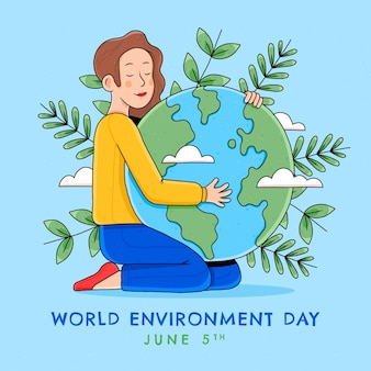 Ręcznie rysowane ilustracja światowego dnia środowiska