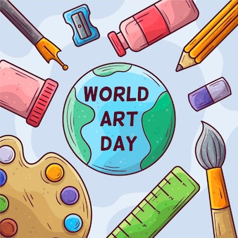 Ręcznie rysowane ilustracja światowego dnia sztuki