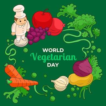 Ręcznie rysowane ilustracja światowego dnia wegetariańskiego