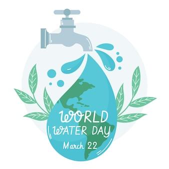 Ręcznie rysowane ilustracja światowego dnia wody